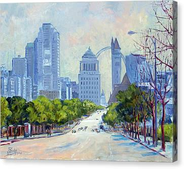 Downtown St.louis From Market Street Canvas Print by Irek Szelag