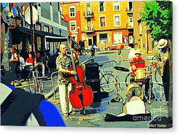 Downtown Street Musicians Perform At The Coffee Shop With Cool Tones On A Hot Summer Day Canvas Print by Carole Spandau