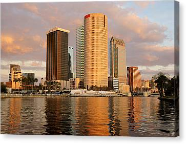 Downtown Tampa At Dusk On Hillsborough River Canvas Print