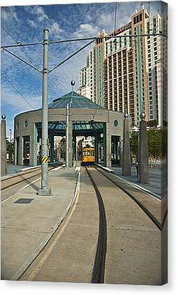 Downtown Tampa Streetcar Canvas Print by Carolyn Marshall