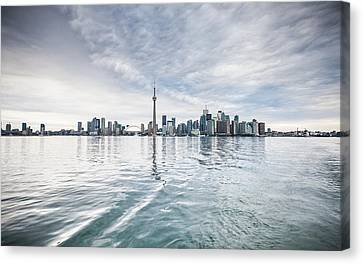 Canvas Print featuring the photograph Downtown Toronto Skyline From The Ferry by Anthony Rego