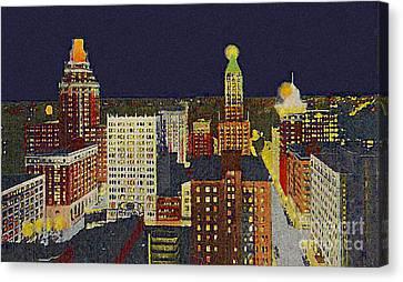 Downtown Tulsa At Night Around 1940 Canvas Print