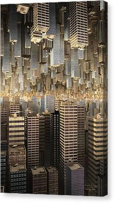 Canvas Print featuring the digital art Downtown/uptown by Matt Lindley
