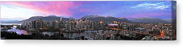 Downtown Vancouver Panorama Canvas Print by Wesley Allen Shaw