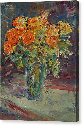Dozen Orange Roses Canvas Print