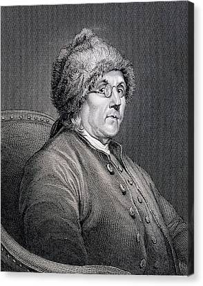 Benjamin Franklin Canvas Print - Dr Benjamin Franklin by English School