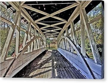 Canvas Print featuring the photograph Dr. Knisely Covered Bridge by Suzanne Stout