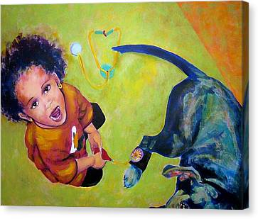 Dr. Nana And The Blue Dog Canvas Print by Jodie Marie Anne Richardson Traugott          aka jm-ART