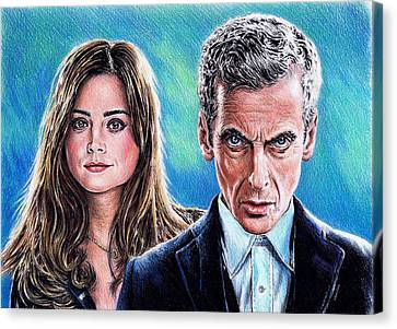 Dr Who And Clara Canvas Print by Andrew Read