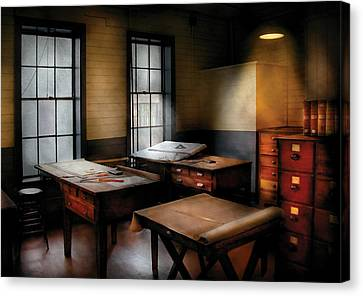 Draftsman - The Drafting Room Canvas Print by Mike Savad