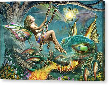 Dragon And Fairy Swing Canvas Print by Adrian Chesterman