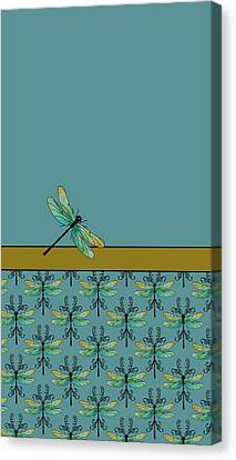 Insects Canvas Print - Dragon Fly Nouveau by Jenny Armitage