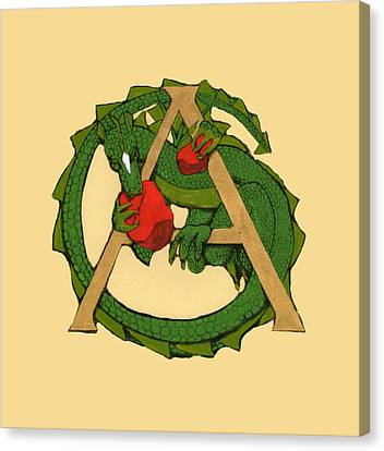 Canvas Print featuring the drawing Dragon Letter A by Donna Huntriss
