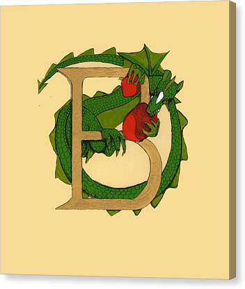 Canvas Print featuring the drawing Dragon Letter B by Donna Huntriss