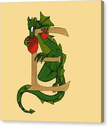 Canvas Print featuring the mixed media Dragon Letter E by Donna Huntriss