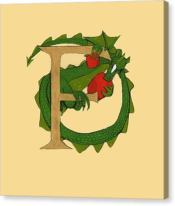Canvas Print featuring the drawing Dragon Letter F by Donna Huntriss