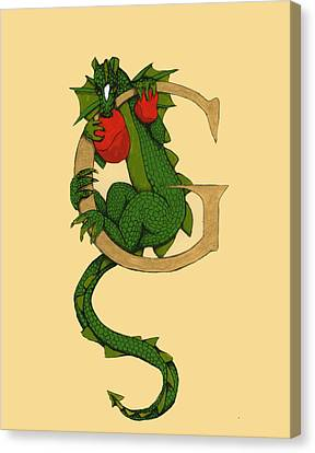 Canvas Print featuring the drawing Dragon Letter G by Donna Huntriss