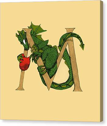 Canvas Print featuring the drawing Dragon Letter M by Donna Huntriss