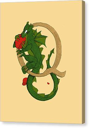 Canvas Print featuring the mixed media Dragon Letter Q by Donna Huntriss