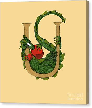 Canvas Print featuring the mixed media Dragon Letter U by Donna Huntriss