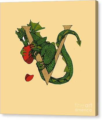 Canvas Print featuring the mixed media Dragon Letter V by Donna Huntriss