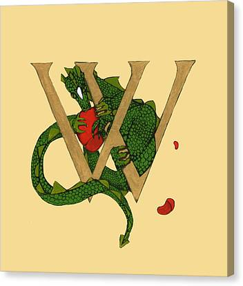 Canvas Print featuring the mixed media Dragon Letter W by Donna Huntriss