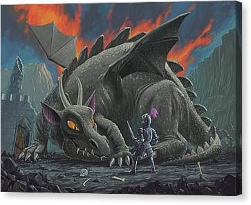 Dragon Looking At Next Meal Canvas Print by Martin Davey