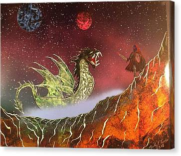 Canvas Print featuring the painting Dragon by Michael Rucker