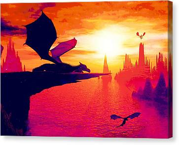 Awesome Dragon Canvas Print by David Mckinney