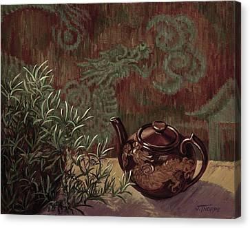 Dragon Teapot Canvas Print by Jane Thorpe