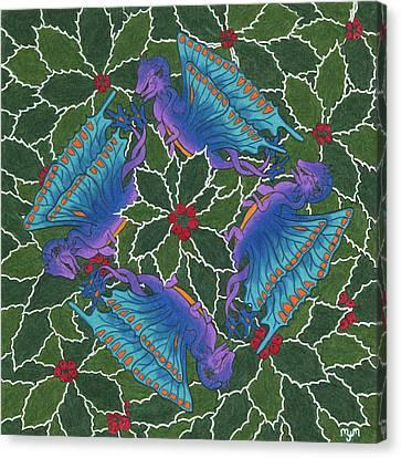 Dragondala Winter Canvas Print by Mary J Winters-Meyer