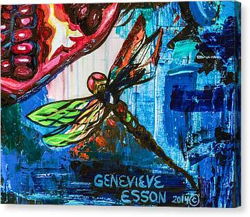 Dragonflies Abstract 4 Canvas Print by Genevieve Esson