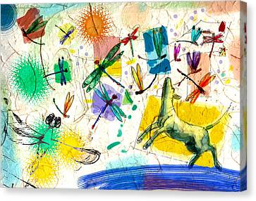 Dragonflies And Dog Canvas Print by Nato  Gomes