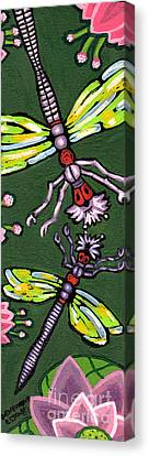 Dragonflies And Water Lilies Canvas Print by Genevieve Esson
