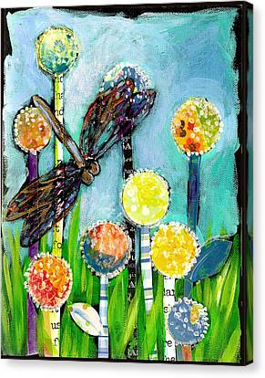 Dragonfly And The Dandies Canvas Print by Shelley Overton