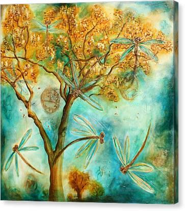 Dragonfly Flirtation Canvas Print by Lyndsey Hatchwell