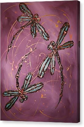 Dragonfly Flit - Dusky Pink Canvas Print by Lyndsey Hatchwell