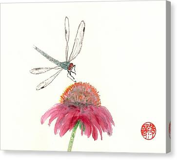 Dragonfly Flower Canvas Print