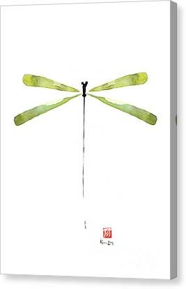 Dragonfly Green Jewel Forest Jewelry Lake Water Watercolor Painting    Canvas Print by Johana Szmerdt