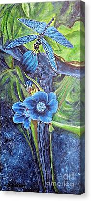 Dragonfly Hunt For Food In The Flowerhead Canvas Print by Kimberlee Baxter