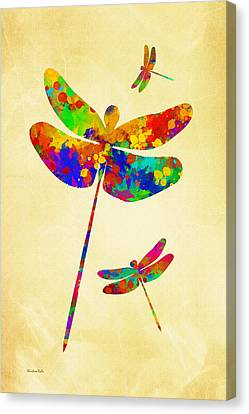 Dragonfly Watercolor Art Canvas Print by Christina Rollo
