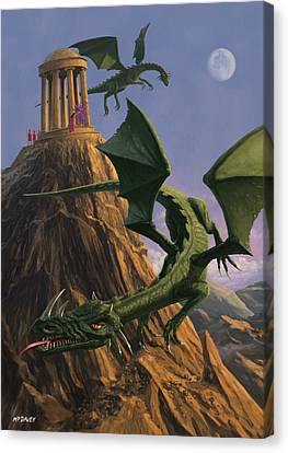 Dragons Flying Around A Temple On Mountain Top  Canvas Print by Martin Davey