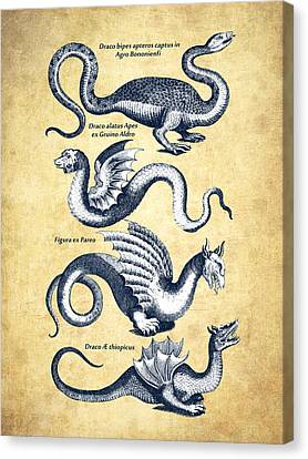 Dragons - Historiae Naturalis  - 1657 - Vintage Canvas Print by Aged Pixel
