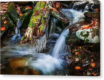 Dragons Teeth Icicles Waterfall Great Smoky Mountains Painted  Canvas Print by Rich Franco