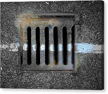 Drain With Blue Line Canvas Print by Charles Stuart