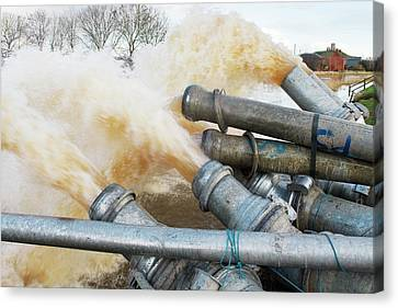 Draining Somerset Levels Floods Canvas Print