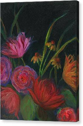 Dramatic Floral Still Life Painting Canvas Print by Mary Wolf