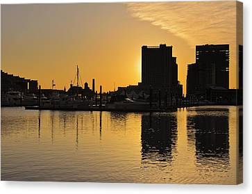 Canvas Print featuring the photograph Dramatic Golden Sunrise Baltimore Inner Harbor  by Marianne Campolongo