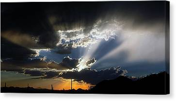 Dramatic Monsoon Sunset Canvas Print by Elaine Malott