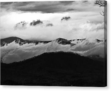 Dramatic Mountains In Black And White Canvas Print